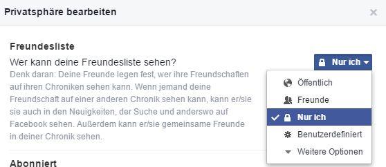 Facebook Freundesliste Sichtbarkeit umstellen auf nur ich