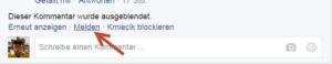 Facebook Spam melden 2