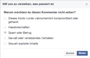 Facebook Spam melden 4