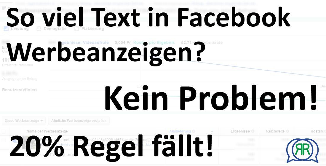 Facebook Anzeigen 20% Regel fällt