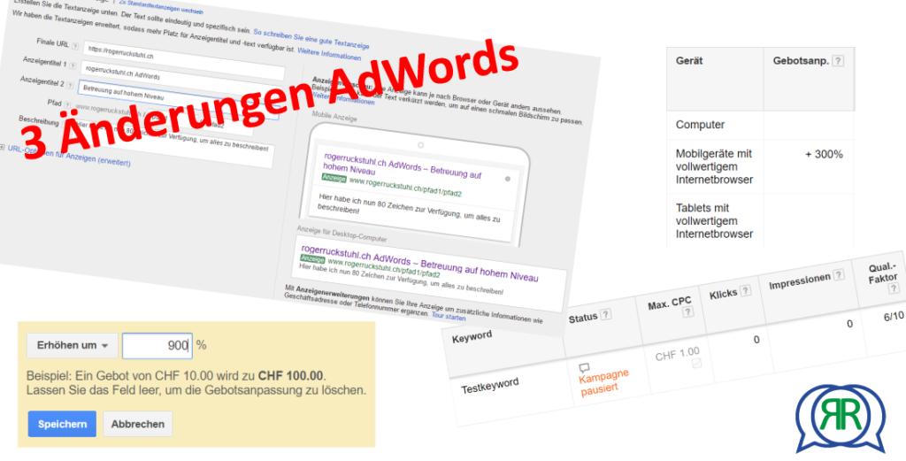 3 Änderungen in AdWords August 2016
