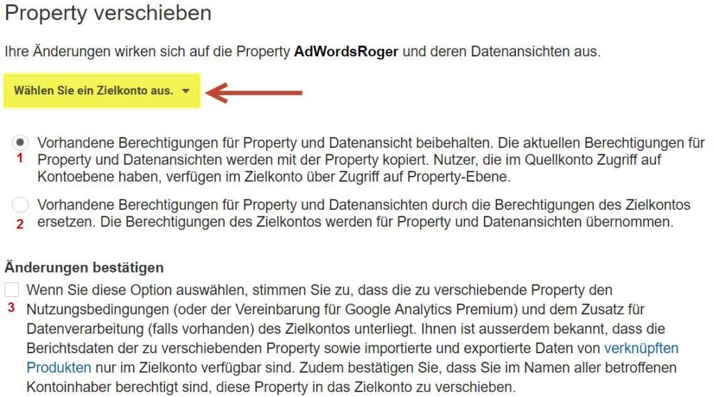 Analytics Property in anderes Konto mirgrieren 3