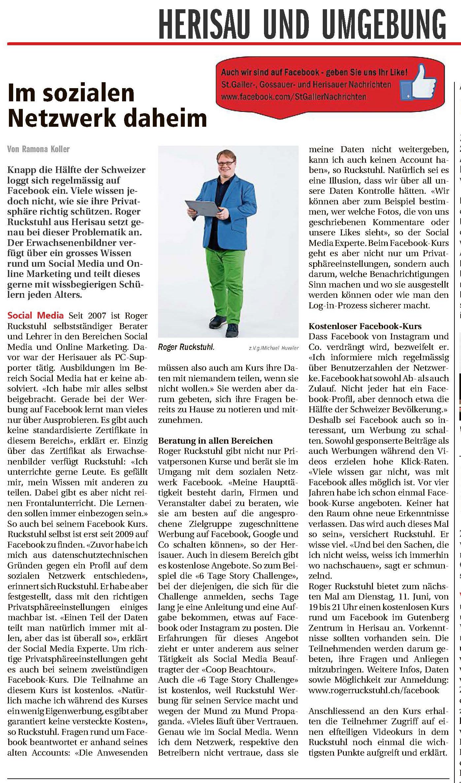 Roger Ruckstuhl mit seinem Gratis Facebook Kurs in den Herisauer Nachrichten