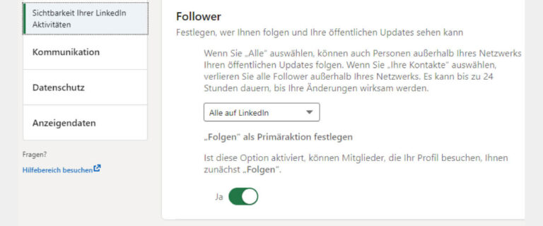 LinkedIn Follower statt Kontaktanfragen