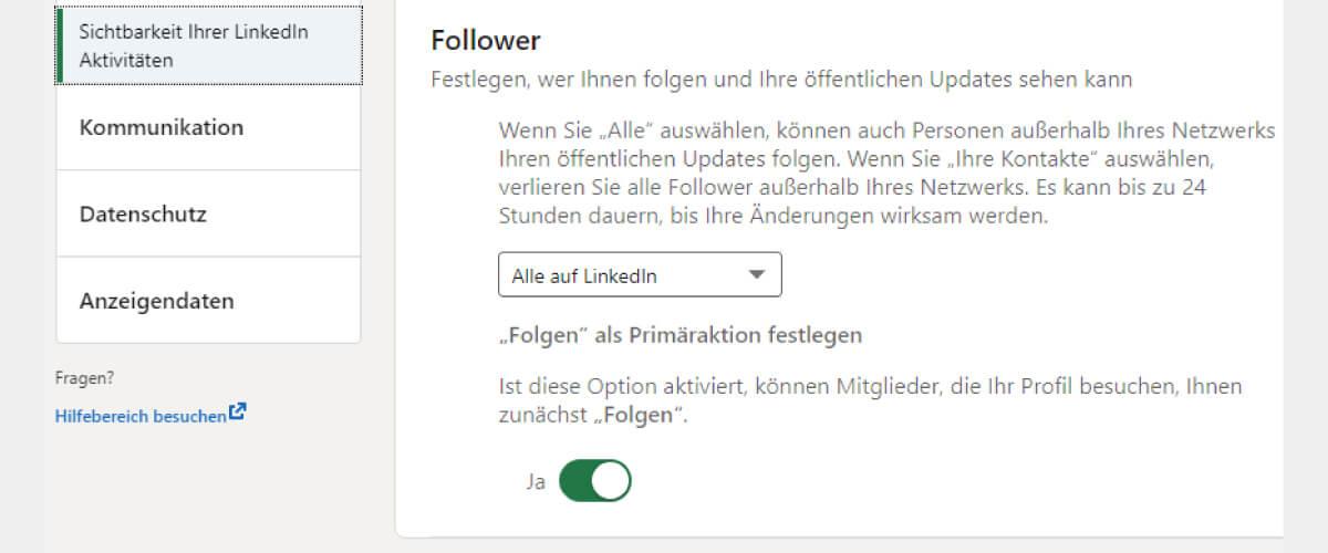 LinkedIn Follower statt Kontaktanfragen