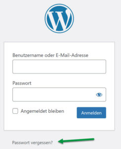 WordPress Passwort vergessen standard