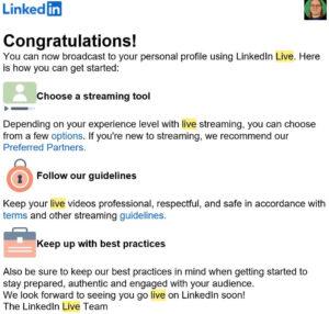 LinkedIn Live Zusage